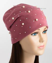 Утепленные женские шапочки Жемчуг 3511
