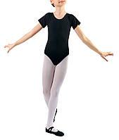 Купальник для танцев с коротким рукавом х/б черный