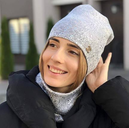 """Комплект """"Glitter"""" шапка+баф, фото 2"""