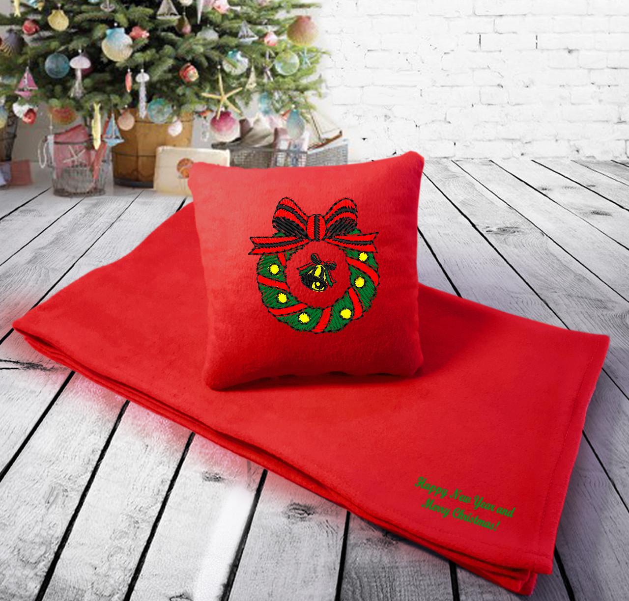 """Подарочный набор: подушка + плед с новогодней вышивкой """"Happy New Year and Merry Christmas"""" 17 цвет на выбор"""