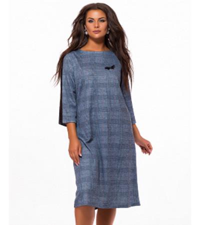 41426da24e1 Купить Повседневное платье миди в клетку синий 824009 недорого ...