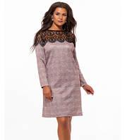 Батальное платье с длинным рукавом с гипюром пудра 824011