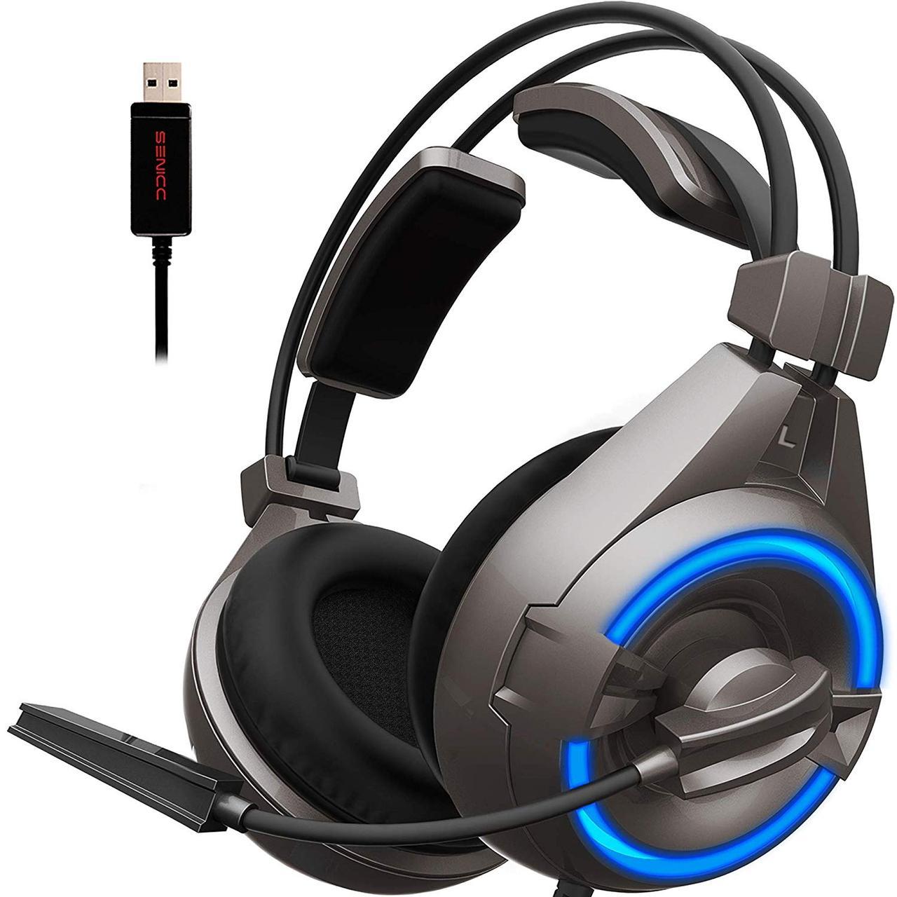Игровые наушники Senicc A6 со светодиодной подсветкой и внешним микрофоном