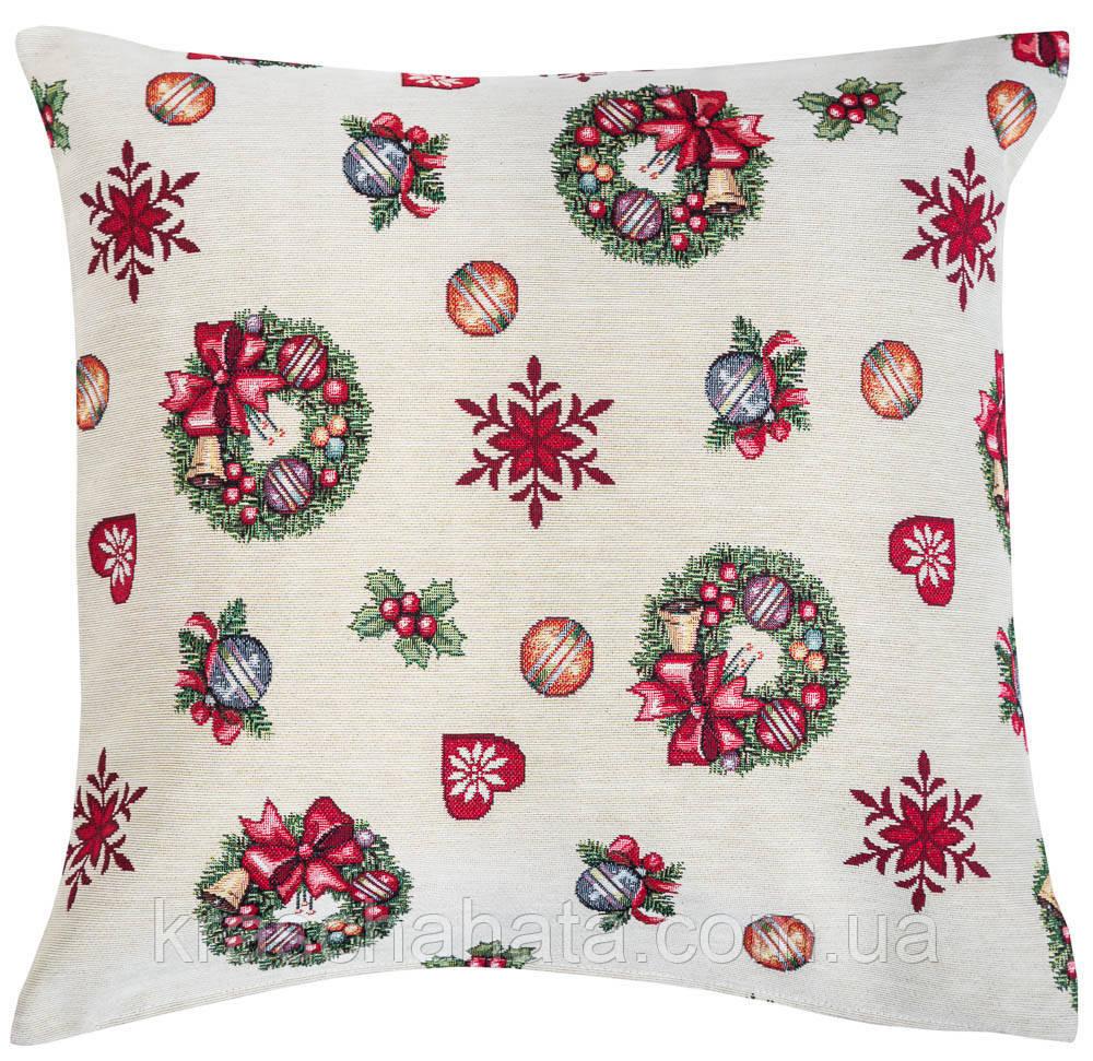 Наволочка новогодняя гобеленовая, односторонняя, 45х45 см, Эксклюзивные подарки, Новогодний текстиль