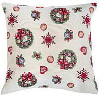 Наволочка новогодняя гобеленовая, односторонняя, 45х45 см, Эксклюзивные подарки, Новогодний текстиль, фото 1