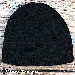 Тёмно серая мужская шапка с флисом (UA31017)