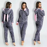 Женский теплый костюм-пижама,махра