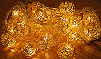 Новогодняя гирлянда с фигурками, шарик цвет золото 20LED, фото 1