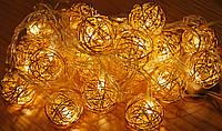Новорічна гірлянда з фігурками, кулька колір золото 20LED, фото 1