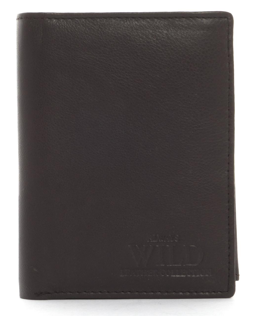 Кошелек мужской кожаный с большим количеством отделений ALWAYSWILD art. D1072-CCF коричневый