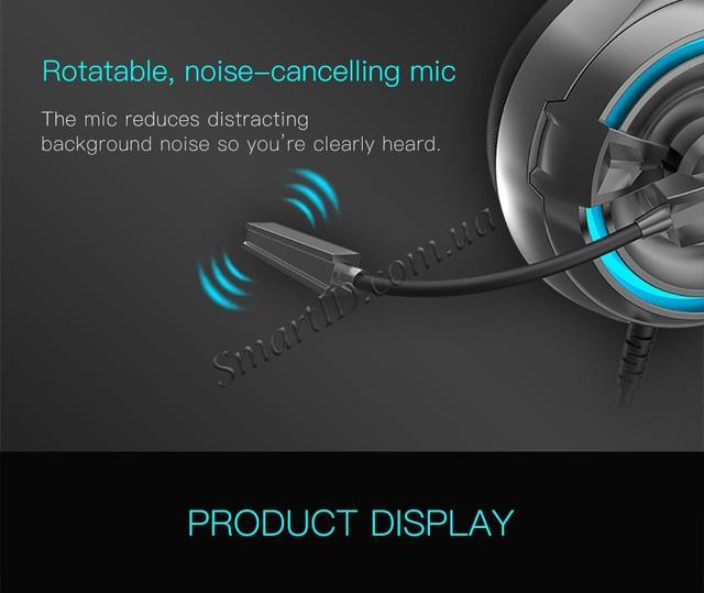 Игровая гарнитура Senicc A6 со светодиодной подсветкой и внешним микрофоном