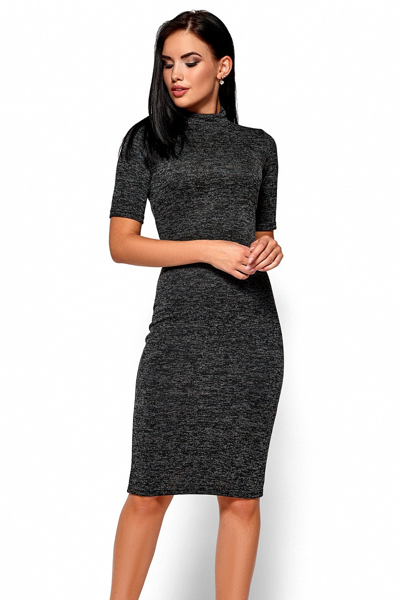 (S, M) Стильне чорне плаття-міді Bosnia