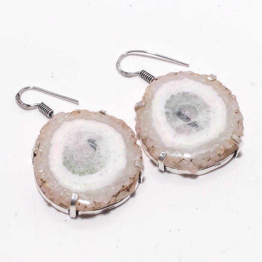 Серьги с камнем солнечный кварц в серебре. Серьги с солярным кварцем.Индия
