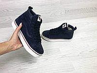 Подростковые зимние кроссовки Vans 6741 темно синие, фото 1