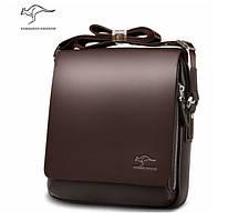 Мужская кожаная сумка Kangaroo, (темно-коричневая), Качественная реплика