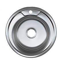 Кухонна мийка врізна з нержавіючої сталі Platinum 490 Сатин 0.8