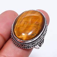 Кольцо из камня тигровый глаз. Кольцо с натуральным тигровым глазом в серебре. Индия, фото 1
