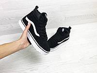 Подростковые зимние кроссовки Vans 6742 черные с белым, фото 1