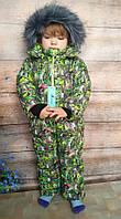 Зимний цельный комбинезон Зеленая  зефирка (размеры 86, 92 и 98  см), фото 1