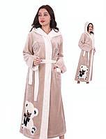 Женский длинный махровый халат с вышивкой мишка