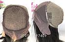 Натуральный длинный чёрный парик на сетке. + шелковая вставка, фото 8