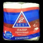 Туалетная бумага Z-ВЕST 2-слойная 4 рулона/150 отрыва целлюлоза белая Украина