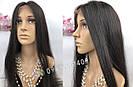 Длинный чёрный парик без чёлки, из натуральных волос с имитацией кожи головы, фото 5