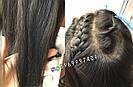 Длинный чёрный парик без чёлки, из натуральных волос с имитацией кожи головы, фото 7