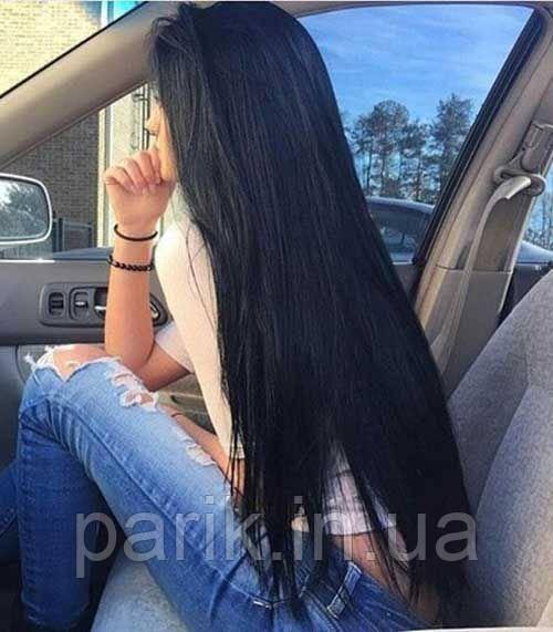 Длинный чёрный парик без чёлки, из натуральных волос с имитацией кожи головы