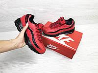 Зимние подростковые Кроссовки Nike 6736 красные с черным, фото 1