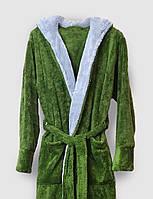 Халат махровый мужской длинный зеленый с капюшоном и карманами, мужской домашний халат, фото 1