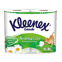 Туалетная бумага Kleenex 3-слойная 4 рулона премиум натуральная целлюлоза белая Венгрия