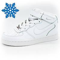 Зимние кроссовки Nike Air Force (Найк Аир Форс) высокие белые с мехом -  Реплика 9d453d9576144