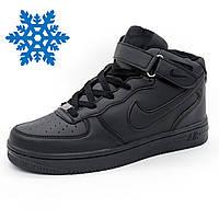 Зимние кроссовки Nike Air Force (Найк Аир Форс) высокие черные с мехом -  Реплика 0c4360f1ff93f