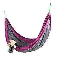 """Гамак GreenCamp """"VOYAGE"""", 300*200 см, парашютный шелк, серый/вишневый"""