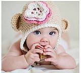 Вязанная тёплая шапочка для девочки 1,2,3 года Обезьянка