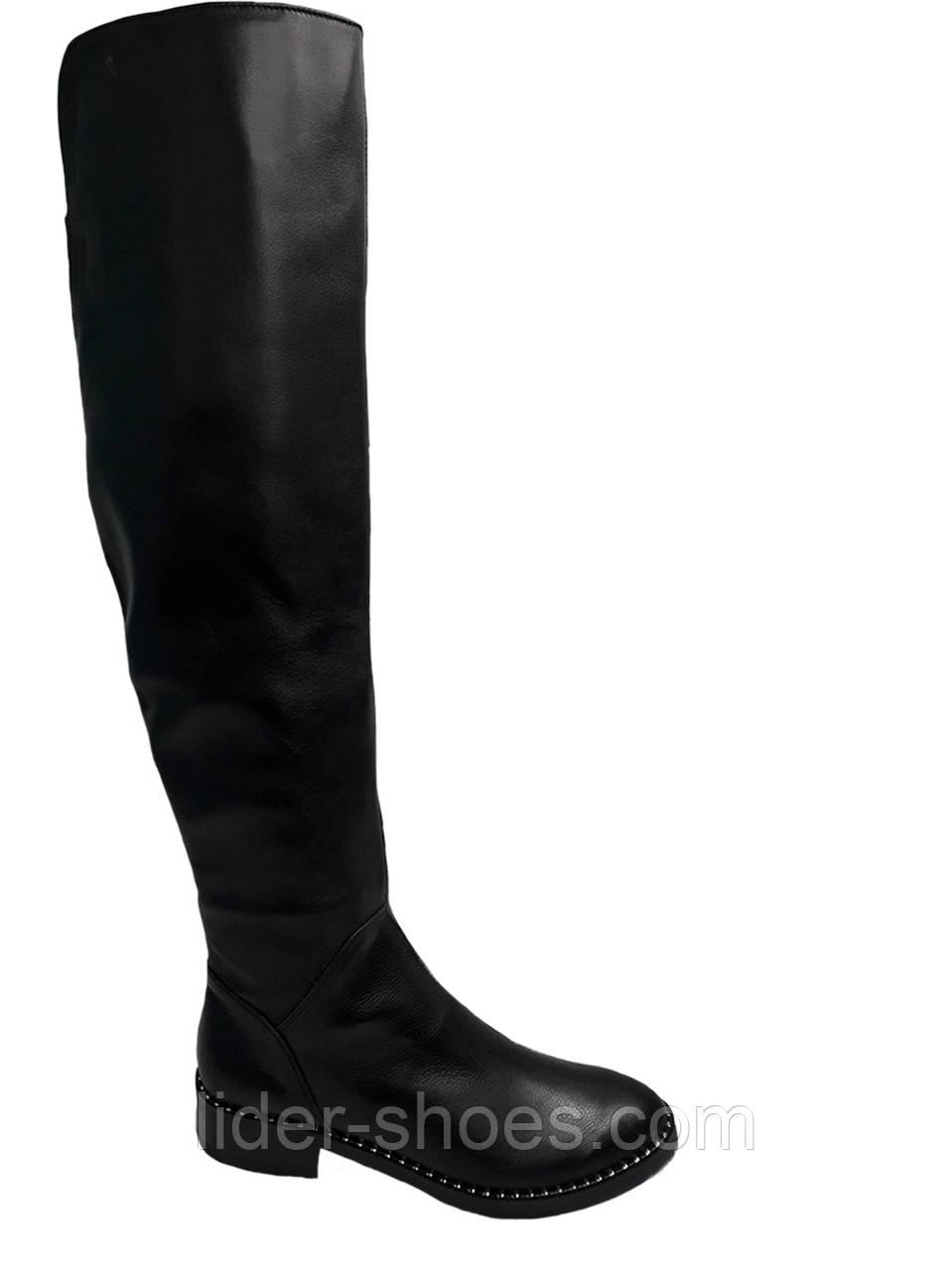 Женские кожаные ботфорты европейка