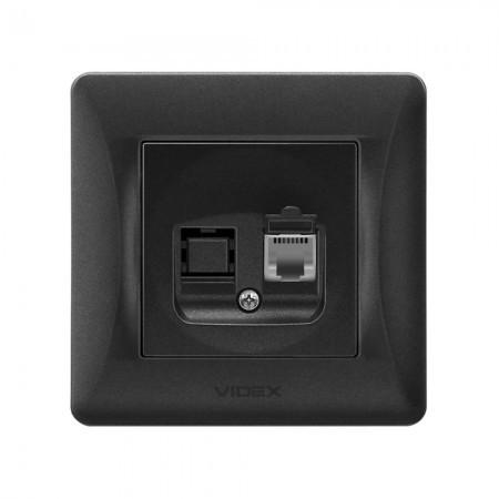VIDEX BINERA Розетка черный графит CAT3 одинарная телефонная (VF-BNSK1TF3-BG) (20/120)