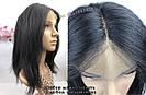 ПАРИК НА СЕТКЕ — Натуральный чёрный. Имитация роста волос., фото 4