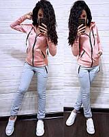 Женский спортивный костюм с молнией и капюшоном (размер: 40,42,44,46,48,50,52,54,56,58)