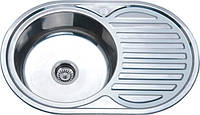 Врезная кухонная мойка из нержавеющей стали Platinum 7750 Декор 0.6