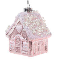Елочное украшение 10см с декором из бусин, розовый с морозным узором