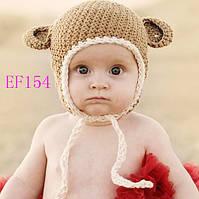 Вязанная шапочка для мальчика 2-3 года, весна, осень Мишка