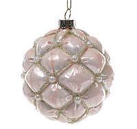 Елочный шар 8см, розовый лак с декором из бусин, набор 6 шт