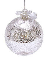 """Елочный шар - серебро с покрытием """"лёд"""", с декором из бусин и жемчуга, 10см, набор 4 шт"""