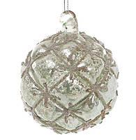 Елочный шар 8см с декором из бусин, цвет - нефритовый зеленый, набор 6 шт