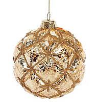 Елочный шар с декором из бусин 8см, цвет - золото, набор 6 шт