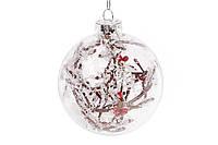 Елочный шар 8см с декором из заснеженных веток с ягодами внутри, набор 6 шт