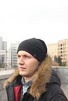 Мужская Шапка зимняяфлисовая темно-серая
