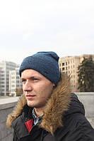 Мужская Шапка зимняяфлисовая серо-синяя